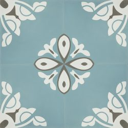 Handmade BELLE encaustic tile, a charming design in soft frosted-teal creates a tranquil and calming atmosphere; floor view - Rever Tiles; four tile view - Rever Tiles.
