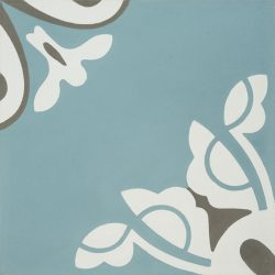 Handmade BELLE encaustic tile, a charming design in soft frosted-teal creates a tranquil and calming atmosphere; floor view - Rever Tiles; single tile view - Rever Tiles.