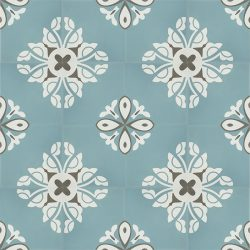 Handmade BELLE encaustic tile, a charming design in soft frosted-teal creates a tranquil and calming atmosphere; floor view - Rever Tiles.