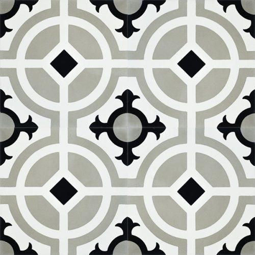 Handmade CARMONA encaustic tile of old Spanish design, four tile view - Rever Tiles.