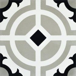 Handmade CARMONA encaustic tile of old Spanish design, single tile view - Rever Tiles.