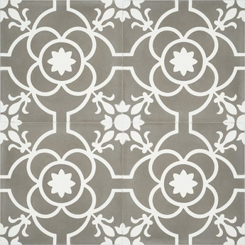 Handmade French patterned VERSAILLES encaustic tile with delicate white detail on pewter grey, four tile view - Rever Tiles.