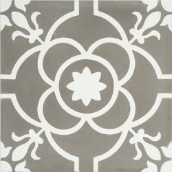 Handmade French patterned VERSAILLES encaustic tile with delicate white detail on pewter grey, single tile view - Rever Tiles.