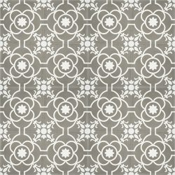 Handmade French patterned VERSAILLES encaustic tile with delicate white detail on pewter grey, floor view - Rever Tiles.