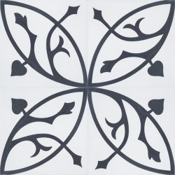 Handmade FLORENCE encaustic tile with classic flora pattern of stylised acanthus leaf in black on white, four tile view - Rever Tiles.
