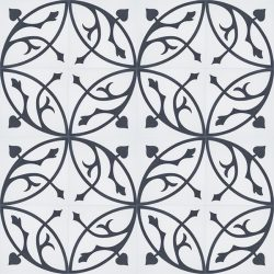 Handmade FLORENCE encaustic tile with classic flora pattern of stylised acanthus leaf in black on white, floor view - Rever Tiles.
