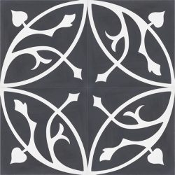 Handmade FLORENCE encaustic tile with classic flora pattern of stylised acanthus leaf in white on black, four tile view - Rever Tiles.