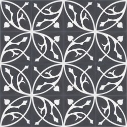 Handmade FLORENCE encaustic tile with classic flora pattern of stylised acanthus leaf in white on black, floor view - Rever Tiles.