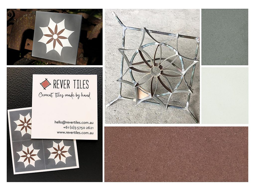 Mood board of Spanish Iguala encaustic cement tile, mould, colour chips - Rever Tiles