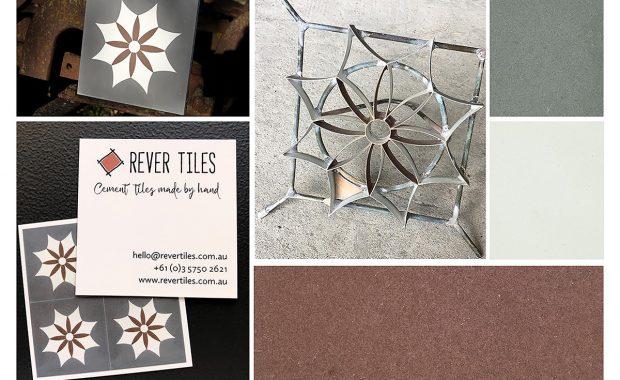 Mood board of Spanish Iguala encaustic cement tile, mould, colour chips - Rever Tiles
