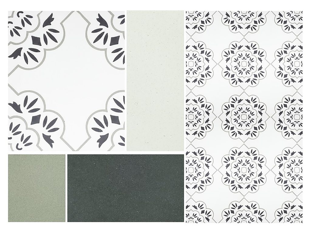 Mood board of French pattern Pari encaustic cement tile, colour chips - Rever Tiles