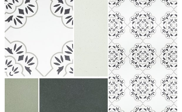 Mood board of French pattern Pari encaustic cement tile, colour chips - Rever Tiles