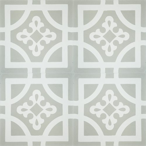 Handmade ARMONIA encaustic tile of French pattern, four tile view - Rever Tiles.