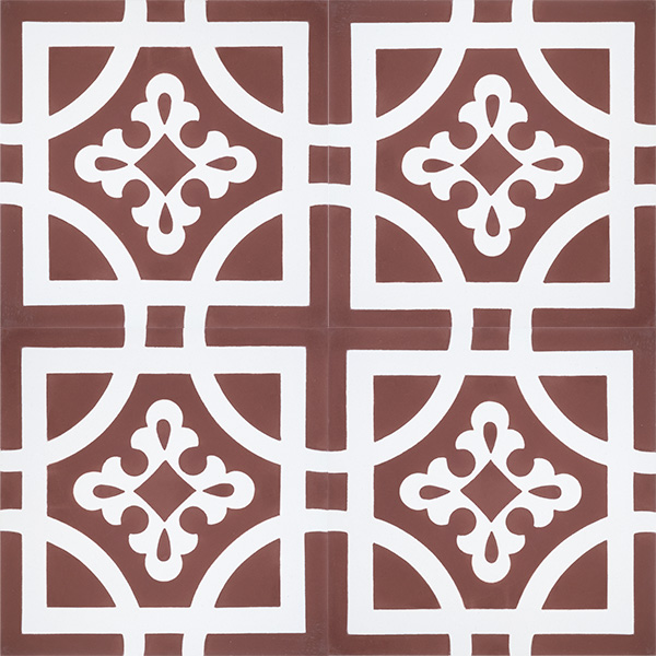 Handmade ARMONIA encaustic tile of French pattern in white on copper rose is both warm and romantic; four tile view - Rever Tiles.