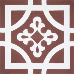 Handmade ARMONIA encaustic tile of French pattern in in white on copper rose is both warm and romantic; single tile view - Rever Tiles.