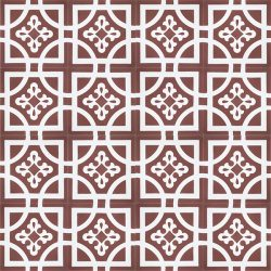 Handmade ARMONIA encaustic tile of French pattern in white on copper rose is both warm and romantic; floor view - Rever Tiles.