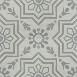 Handmade AZTEC decorative encaustic tile, with subtle grey on grey and soft contrast in a pattern that is not overbearing, four tile view - Rever Tiles.