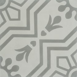 Handmade AZTEC decorative encaustic tile, with subtle grey on grey and soft contrast in a pattern that is not overbearing, single tile view - Rever Tiles.