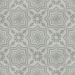 Handmade AZTEC decorative encaustic tile, with subtle grey on grey and soft contrast in a pattern that is not overbearing, floor view - Rever Tiles.