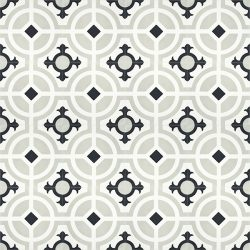 Handmade CARMONA encaustic tile of old Spanish design, floor view - Rever Tiles.