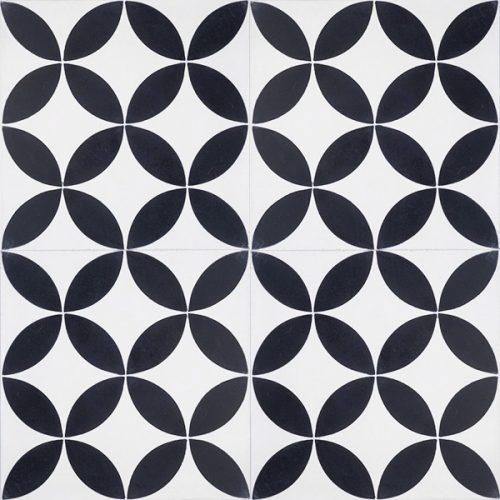 Handmade COROLLA encaustic tile, a popular geometric design in black and white, four tile view - Rever Tiles.