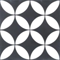 Handmade COROLLA encaustic tile, a popular geometric design in black and white, single tile view - Rever Tiles.