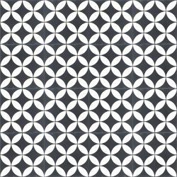 Handmade COROLLA encaustic tile, a popular geometric design in black and white, floor view - Rever Tiles.