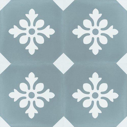 Handmade ESCAMA encaustic tile of French design, four tile view - Rever Tiles.