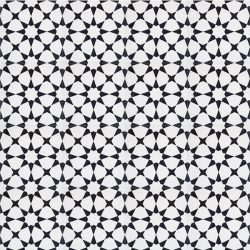 Handmade ESTRELLA encaustic tile, a highly patterned and distinctly Moroccan tile in black and white, floor view - Rever Tiles.