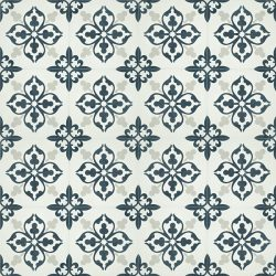 Add character and fresh dimension to any room with our Floret encaustic tile in dark teal and white. Floor view - Rever Tiles.
