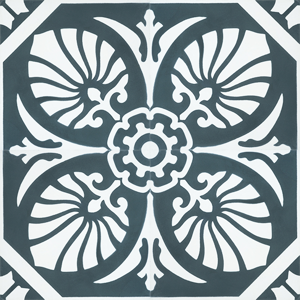 Handmade HOJA encaustic tile of old Spanish design in gunmetal blue and white has a laid-back, casual vibe - four tile view - Rever Tiles.