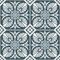 Handmade HOJA encaustic tile of old Spanish design in gunmetal blue and white has a laid-back, casual vibe - floor view - Rever Tiles.