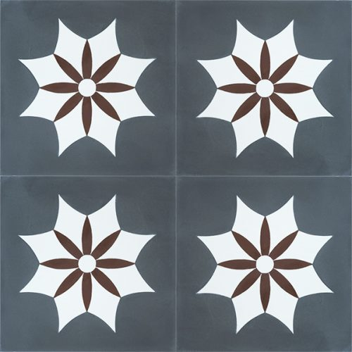 Handmade IGUALA encaustic tile of old Spanish design is truly captivating. A deep red flower enveloped by a white star on dark grey background, four tile view - Rever Tiles.