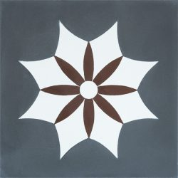 Handmade IGUALA encaustic tile of old Spanish design is truly captivating. A deep red flower enveloped by a white star on dark grey background, single tile view - Rever Tiles.