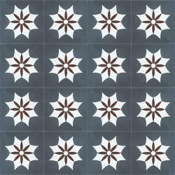 Handmade IGUALA encaustic tile of old Spanish design is truly captivating. A deep red flower enveloped by a white star on dark grey background, floor view - Rever Tiles.