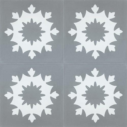 Handmade JAEN encaustic tile of old Spanish design, four tile view - Rever Tiles.