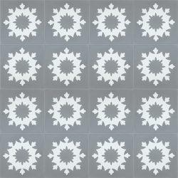 Handmade JAEN encaustic tile of old Spanish design, floor view - Rever Tiles.