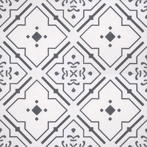 Handmade JARDIN encaustic tile with nostalgic quality and a unique vintage-look, four tile view - Rever Tiles.