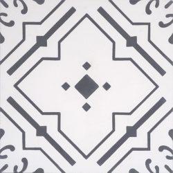 Handmade JARDIN encaustic tile with nostalgic quality and a unique vintage-look, single tile view - Rever Tiles.