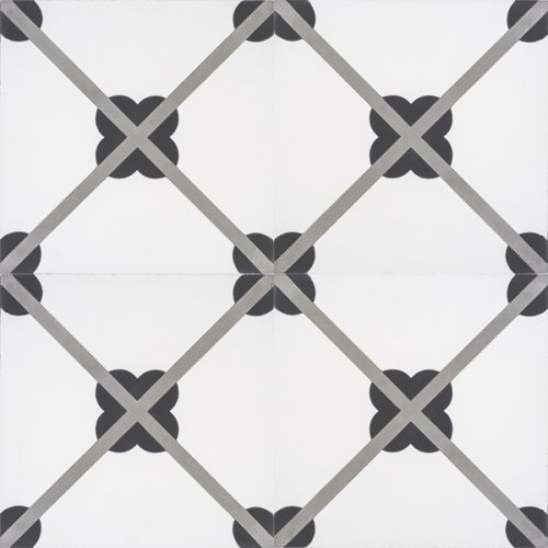 Handmade LATTICE encaustic tile, a timeless French classic that creates a lattice form when in multiple; four tile view - Rever Tiles.