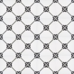 Handmade LATTICE encaustic tile, a timeless French classic that creates a lattice form when in multiple; floor view - Rever Tiles.