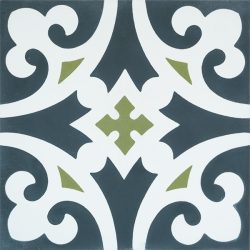 Handmade Moroccan MEKNES encaustic tile is cool, colourful and packed with personality, single tile view - Rever Tiles.