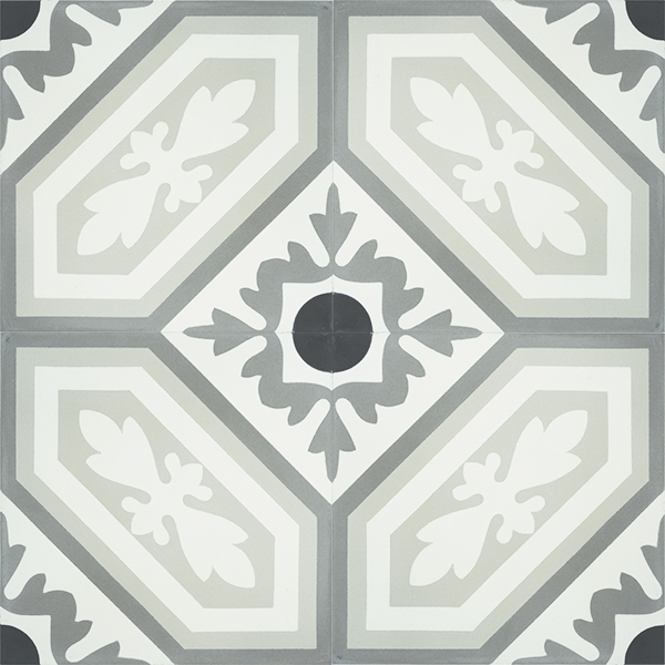 French inspired handmade ROUE encaustic tile with a vintage look and rustic charm, four tile view - Rever Tiles.