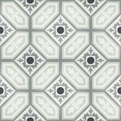 French inspired handmade ROUE encaustic tile with a vintage look and rustic charm, floor view - Rever Tiles.