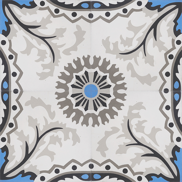 Handmade SANTORINI encaustic tile with a traditional design is truly captivating. It is delicate and timeless with a splash of bright blue in likeness to the seawater off Santorini; four tile view - Rever Tiles.