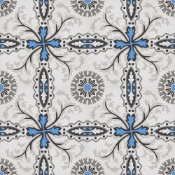 Handmade SANTORINI encaustic tile with a traditional design is truly captivating. It is delicate and timeless with a splash of bright blue in likeness to the seawater off Santorini; floor view - Rever Tiles.