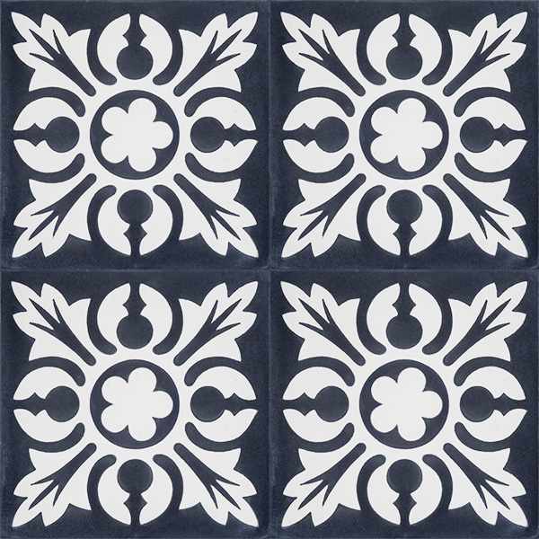 Handmade SOL encaustic tile, a lively charcoal and white tile with a French pattern that offers a vintage feel, four tile view - Rever Tiles.