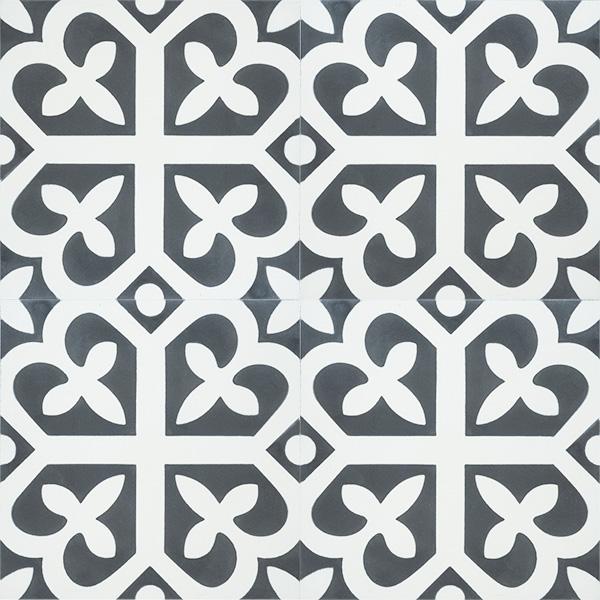 Handmade SPIRIT encaustic tile of French pattern, four tile view - Rever Tiles.