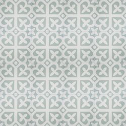 Handmade SPIRIT encaustic tile with whimsical French pattern, in pale green and white, floor view - Rever Tiles.