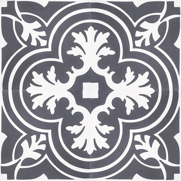 Handmade VALENCIA encaustic tile, a vintage look floral-inspired tile in white on charcoal; four tile view - Rever Tiles.